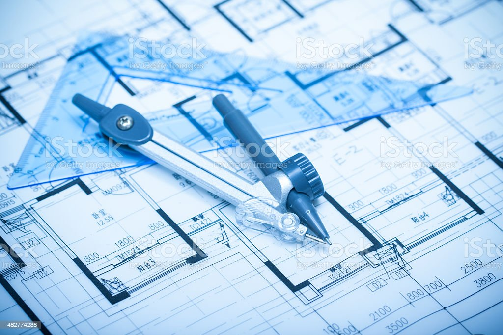Architecture blueprints background stock photo