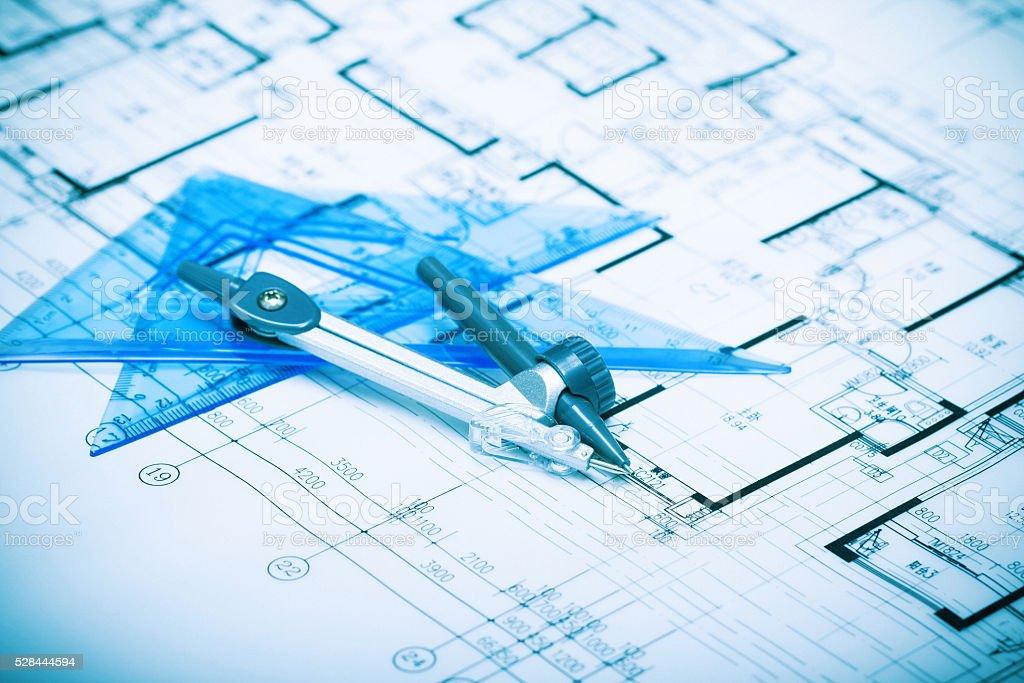 Architecture blueprints background stock photo