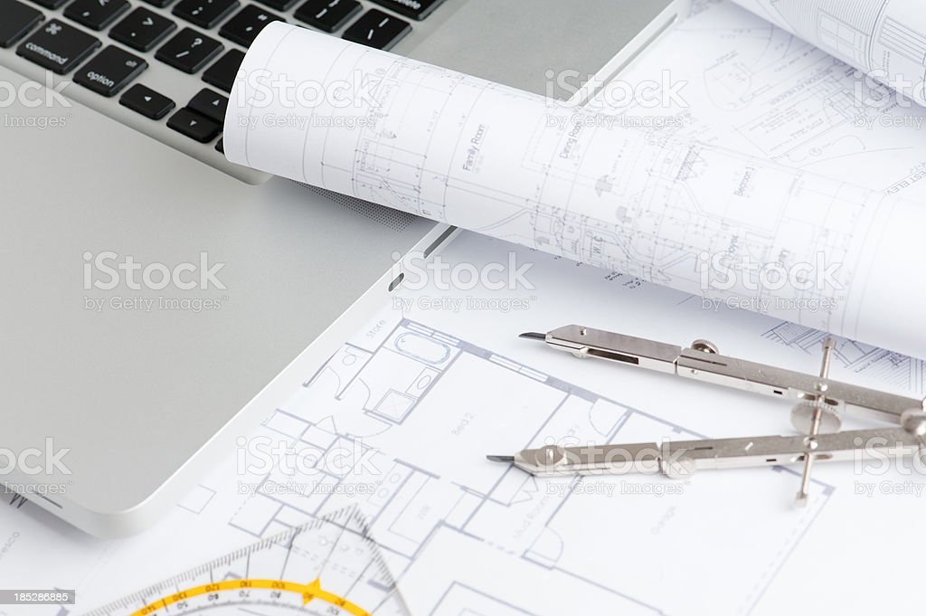 Architecture blueprints royalty-free stock photo