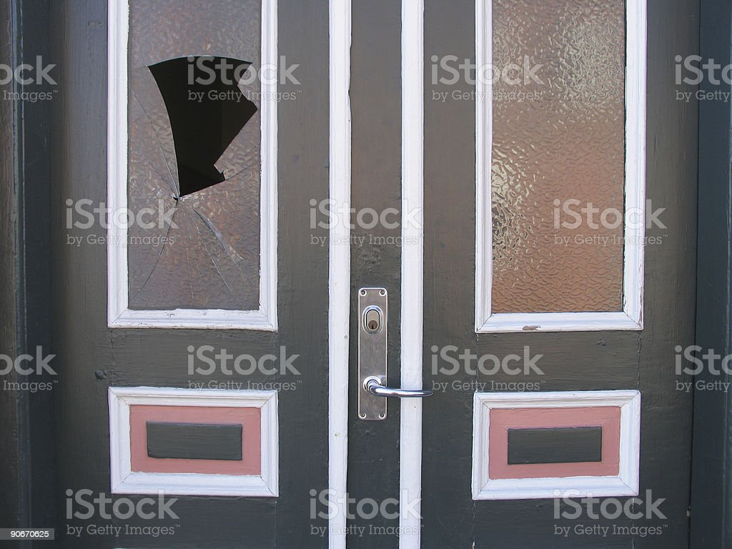 Architecture - Broken glass royalty-free stock photo