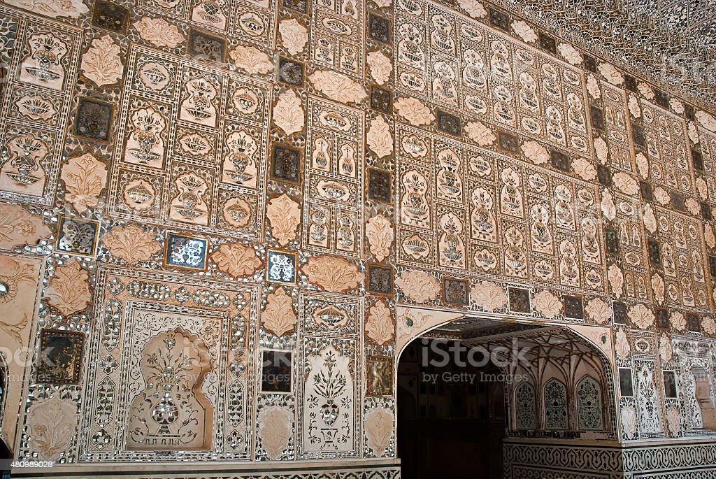 Détail architectural du Fort d'Amber de Jaipur, Rajasthan, Inde photo libre de droits