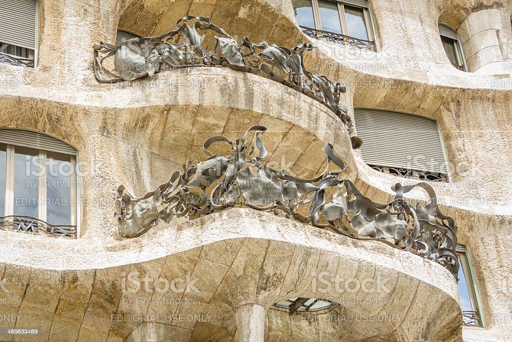 Architecture detail of Casa Mila or La Pedrera stock photo