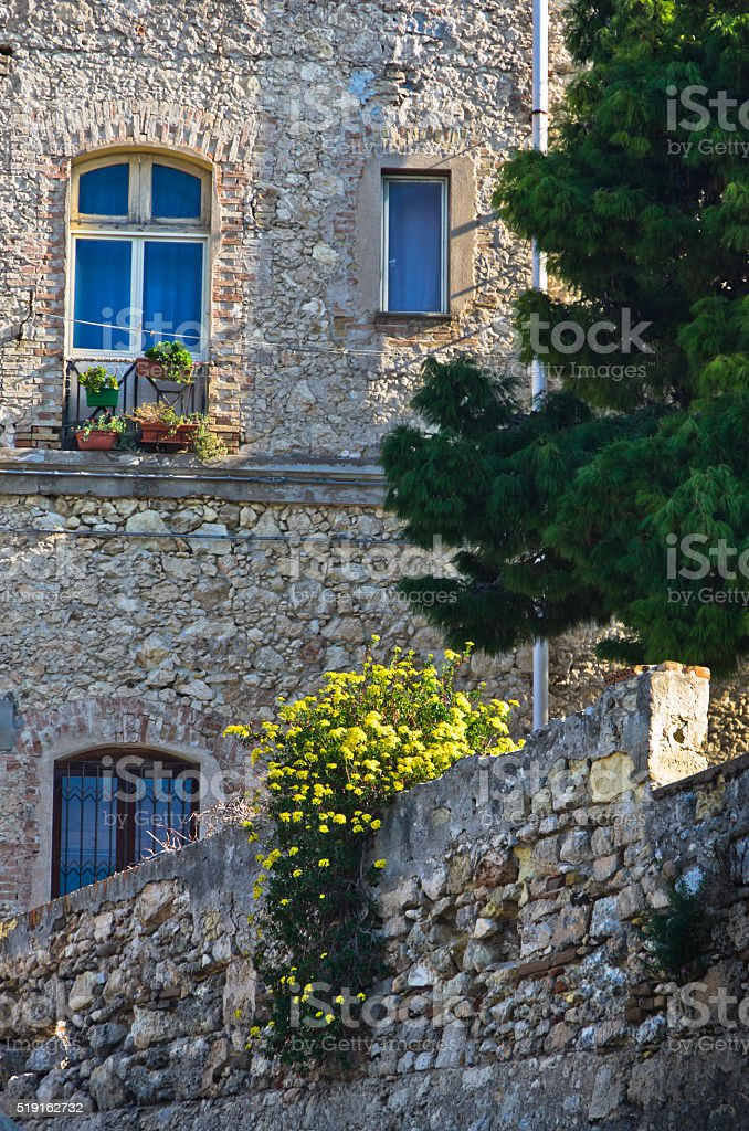 Architecture detail of old stone buildings in Cagliari downtown, Sardinia stock photo