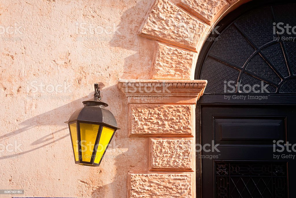 Architecture detail typical colonial style in Uruguay stock photo