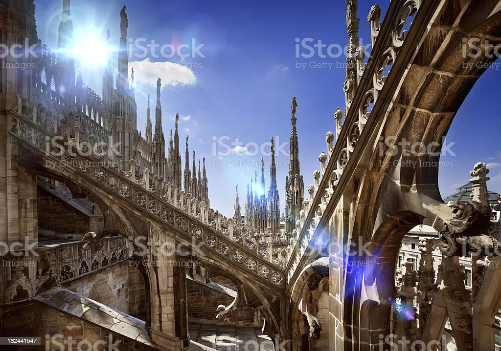 Architecture details of Duomo in Milan stock photo