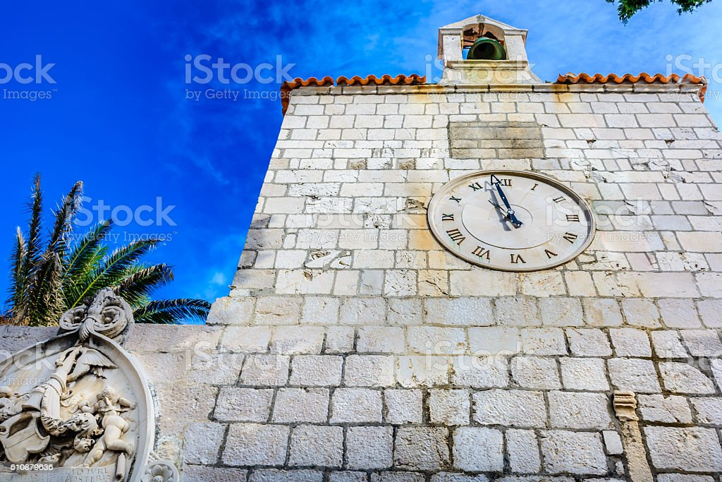 Architecture details Pag town. stock photo