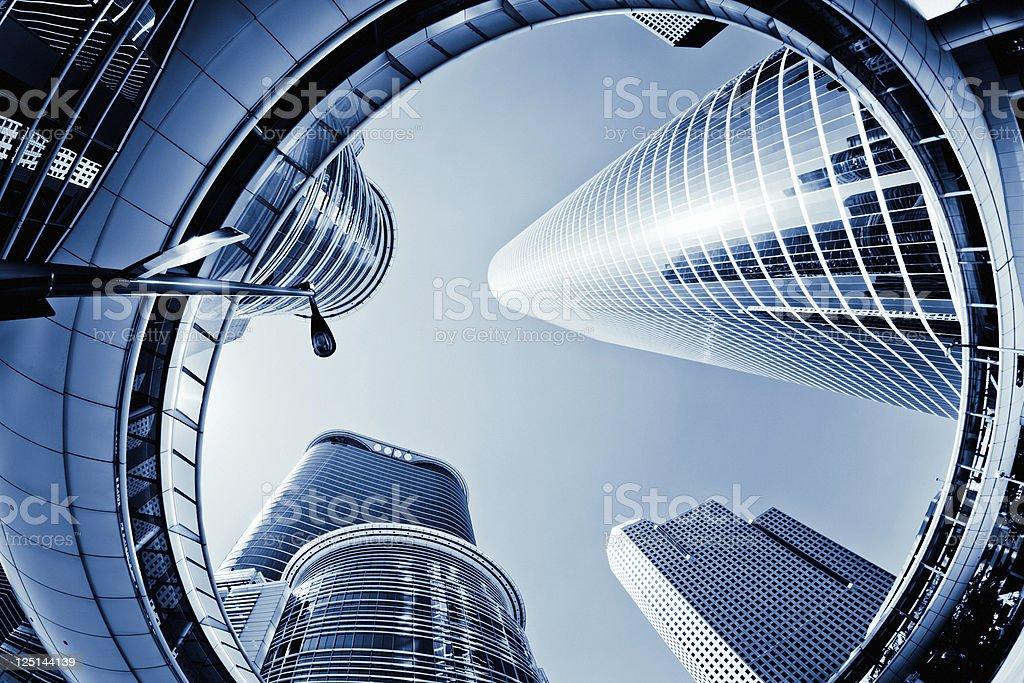Architecture Downtown Skyscraper Blue Toned stock photo