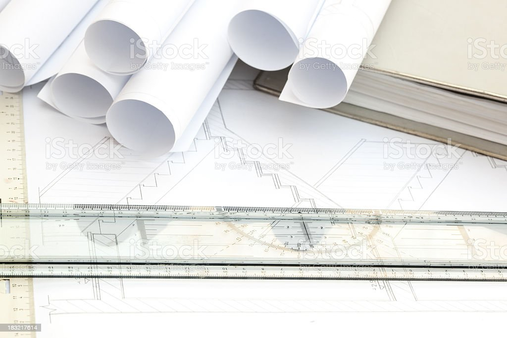 Architecture drawings and work space. stock photo