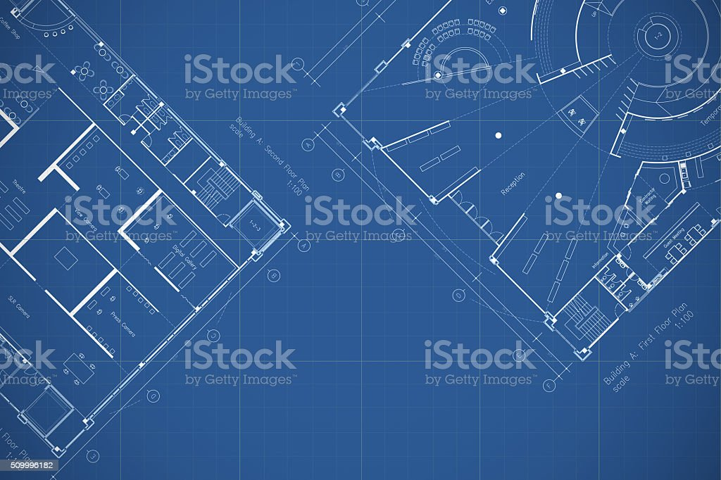 Architecture drawings blueprint, floor plan stock photo