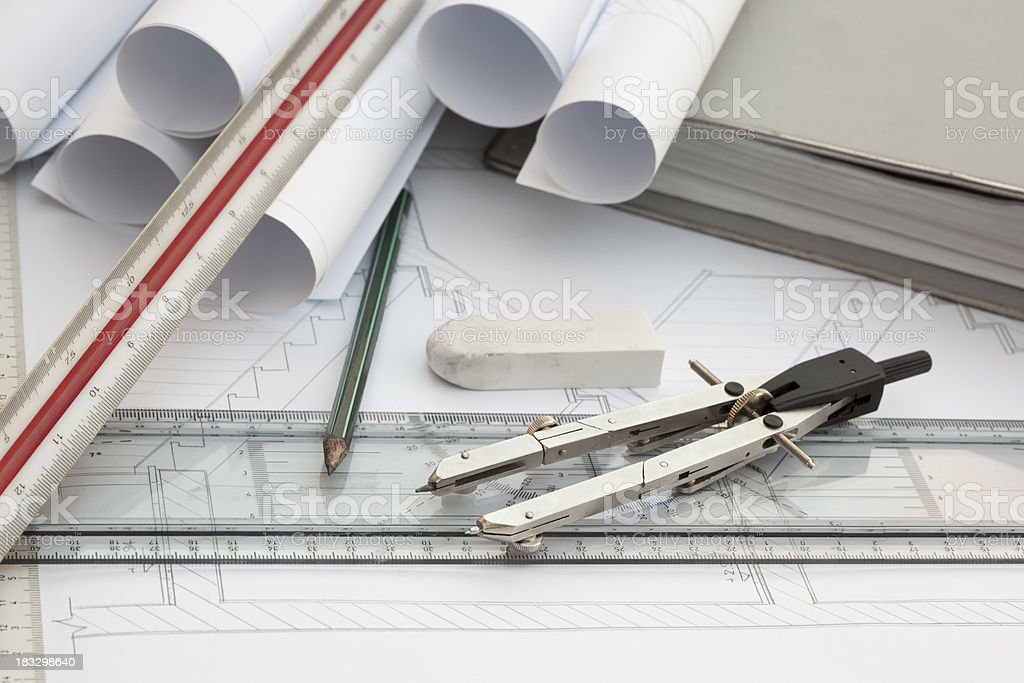 Architecture drawings, tools and work space. royalty-free stock photo