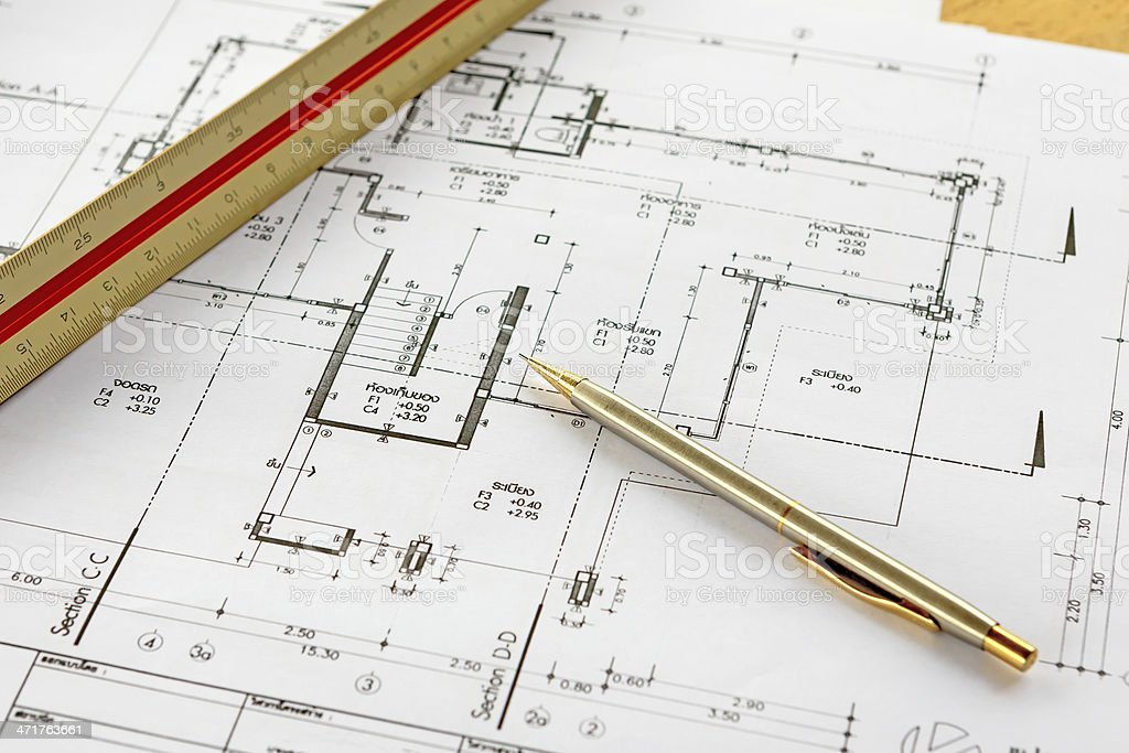 architecture drawings with pencil and ruler royalty-free stock photo