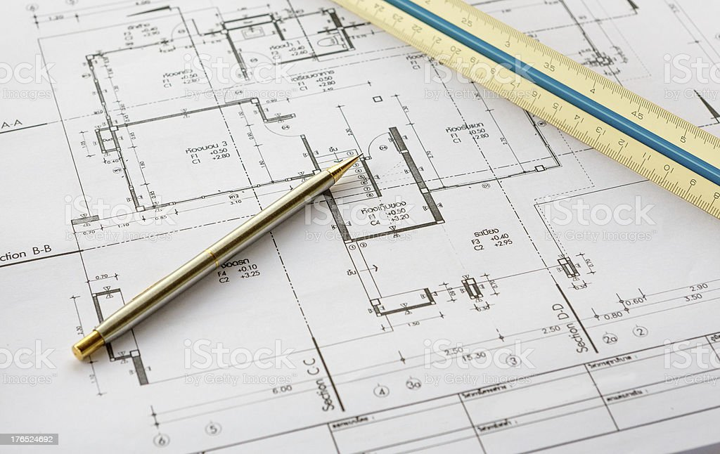 architecture drawingswith pencil and ruler royalty-free stock photo