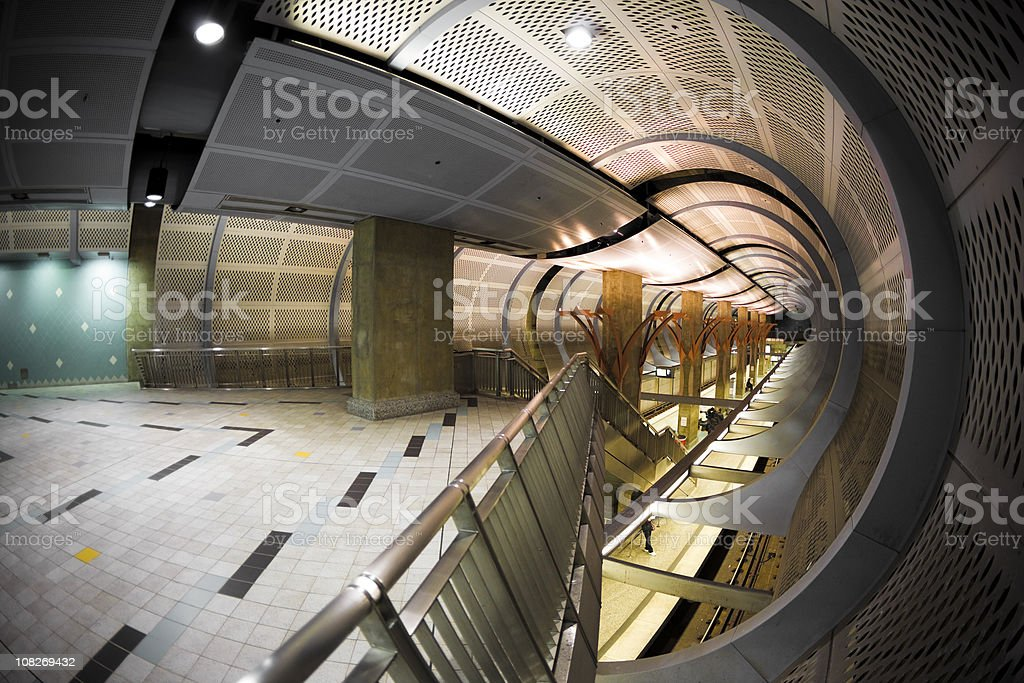 Architecture Futuristic Underground Tunnel Fisheye Lens royalty-free stock photo