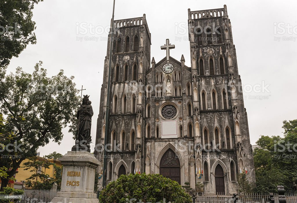 Architecture Gothic style of church the St. Joseph's Cathedral. stock photo