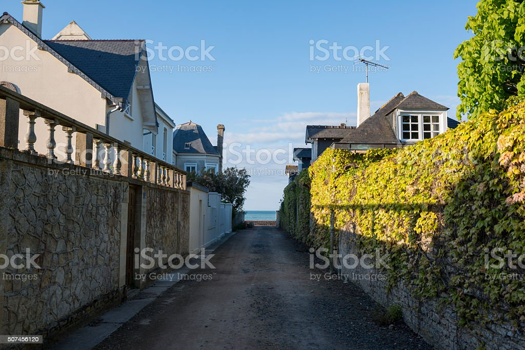 Architecture in Arromanches, Normandy, France stock photo