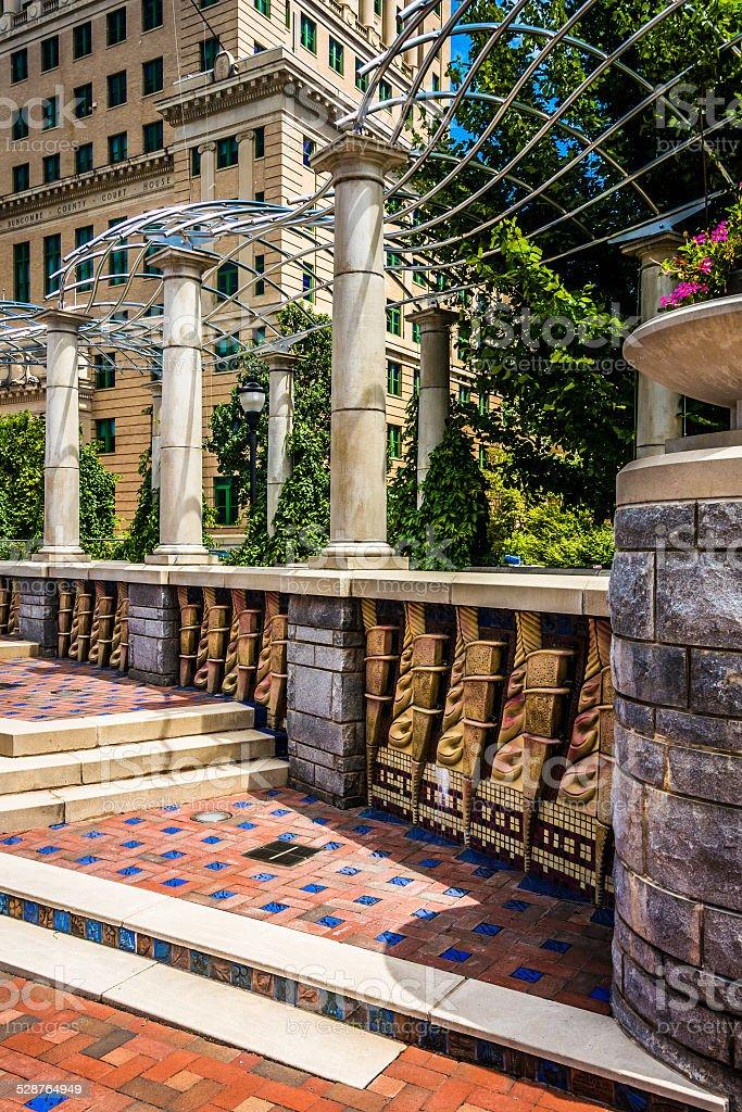 Architecture in Pack Square Park, Asheville, North Carolina. stock photo
