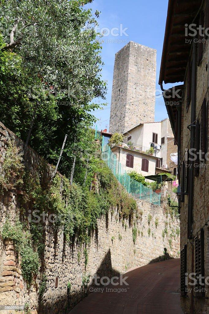 Architecture in San Gimignano, Tuscany Italy stock photo