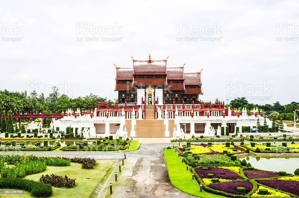 architecture in the Lanna style, Chiang Mai, Thailand stock photo