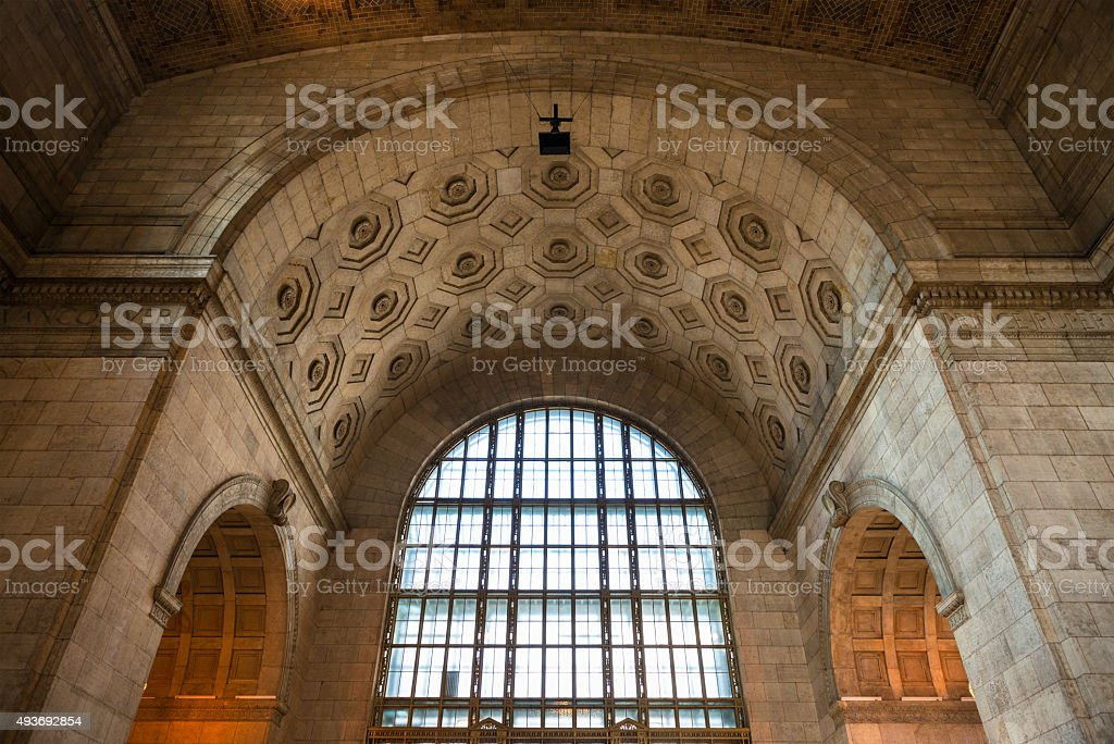 Architecture inside Union Station in Toronto stock photo