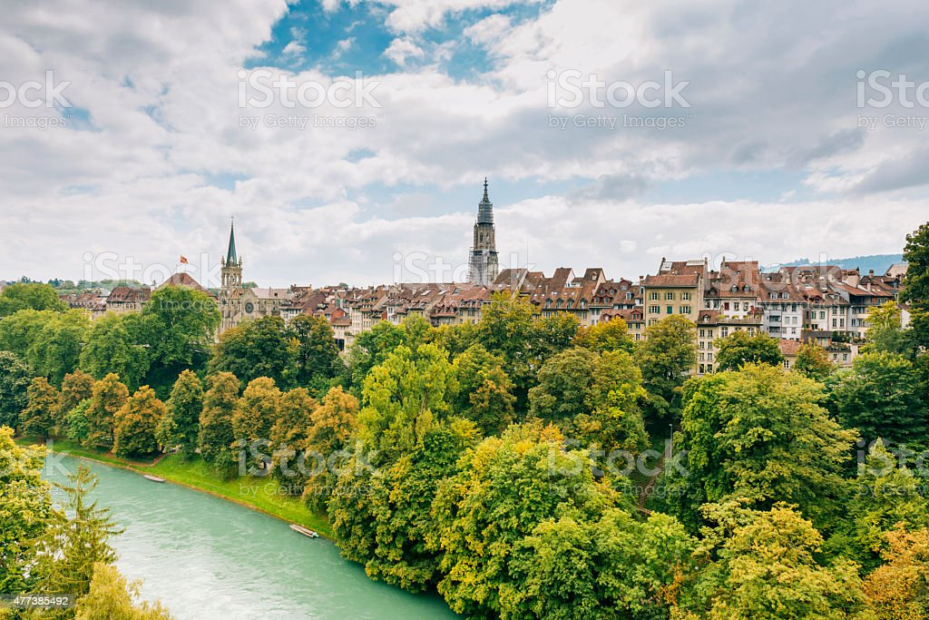 Architecture, landmarks and parks in City of Bern, Switzerland stock photo