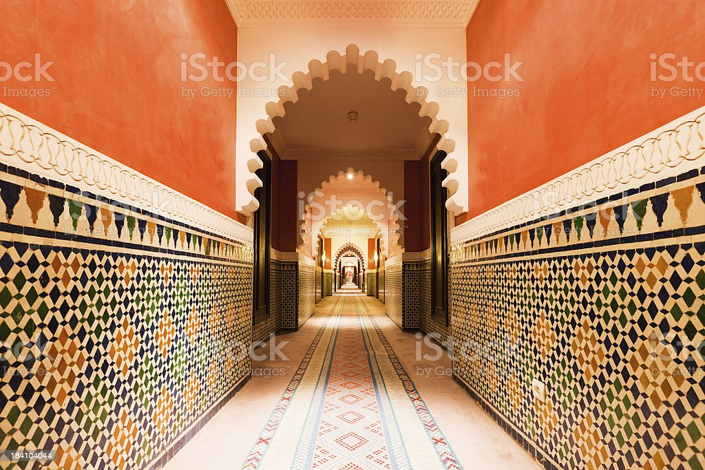 Architecture Moroccan Archway with Ornamental Tiles Interior Design stock photo