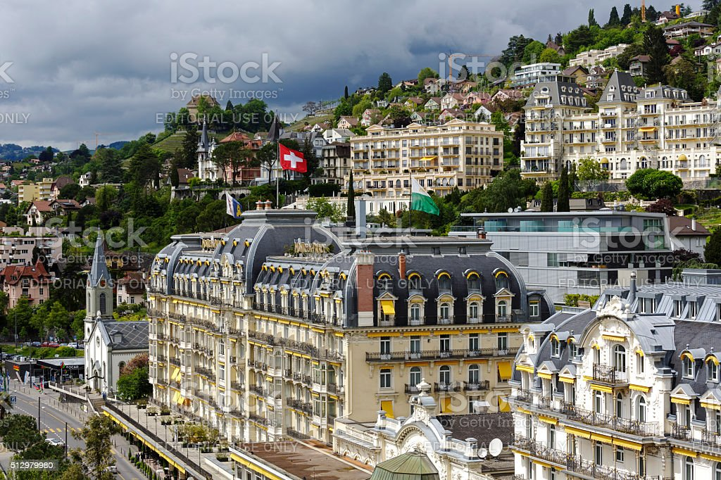 Architecture of a famous and luxury hotel in Montreux, Switzerland stock photo