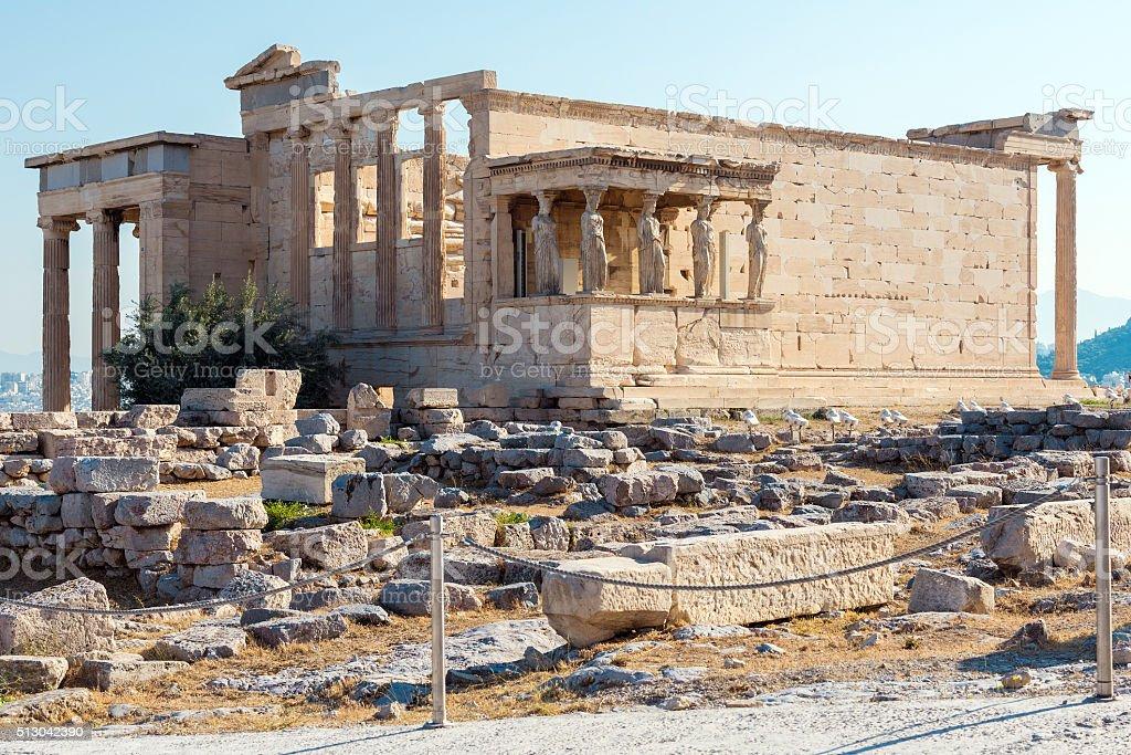 Architecture of ancient temple Erechteion in Acropolis stock photo