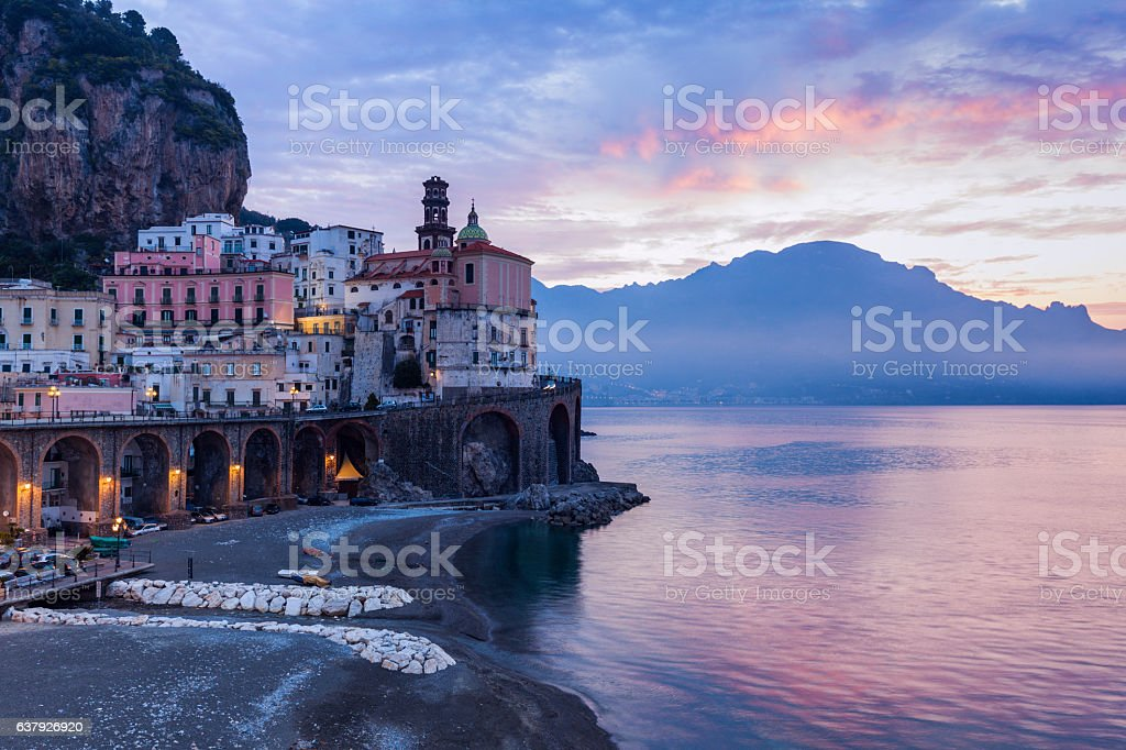 Architecture of Atrani at sunrise stock photo