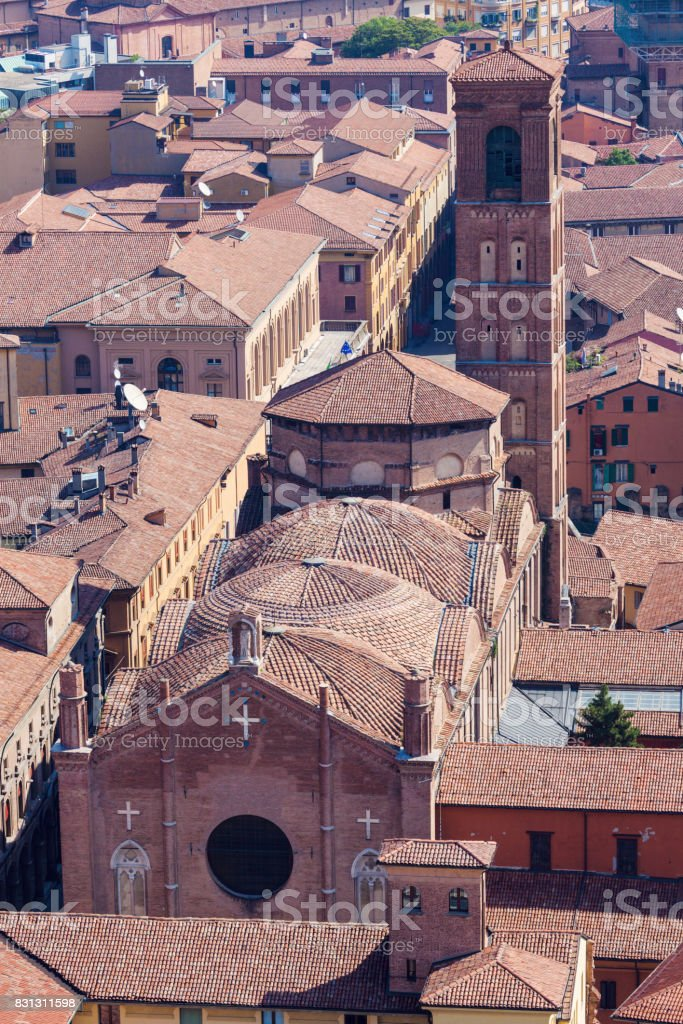 Architecture of Bologna - aerial photo stock photo
