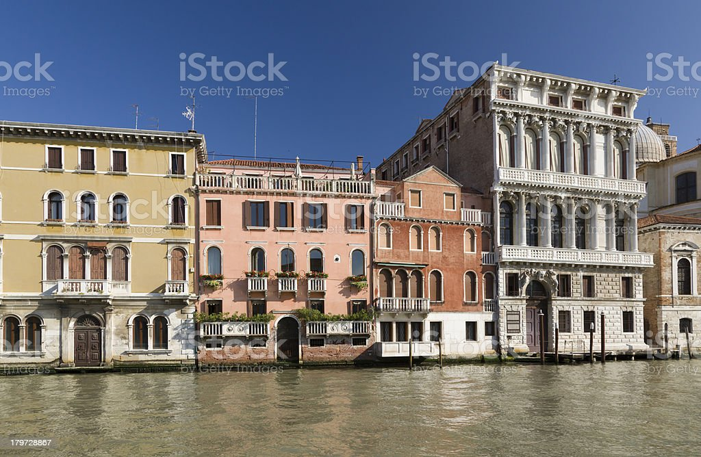 Architecture of buildings on the Grand Canal, Venice, Italy royalty-free stock photo