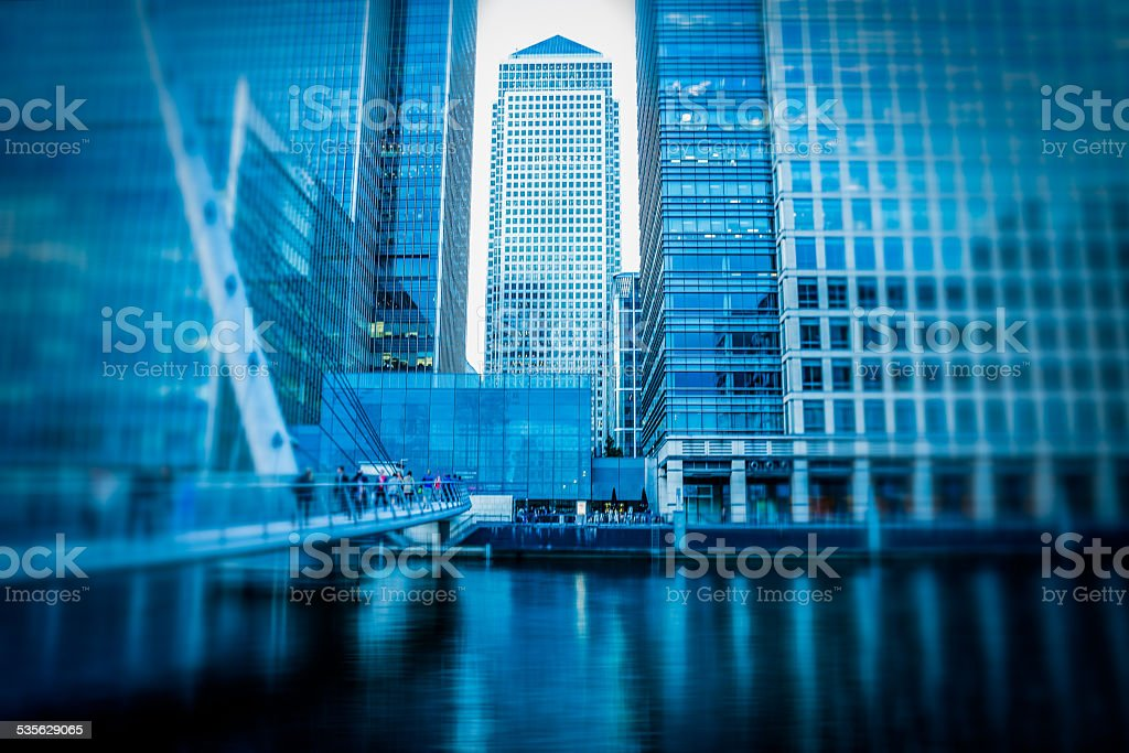 Architecture of Financial Business district of Canary Wharf in London stock photo