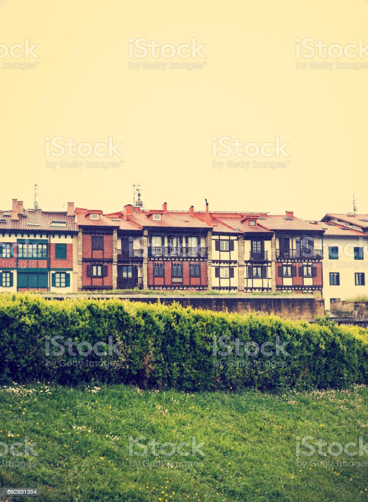 architecture of hondarribia, basque country-spain stock photo