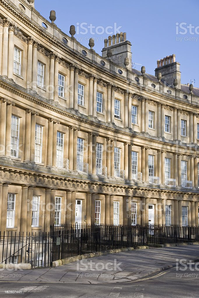 Architecture of houses in The Circus Bath England royalty-free stock photo