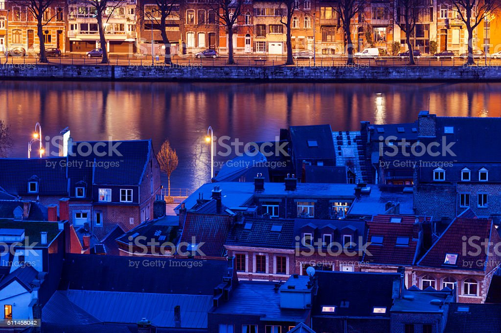 Architecture of Liege along Meuse River stock photo