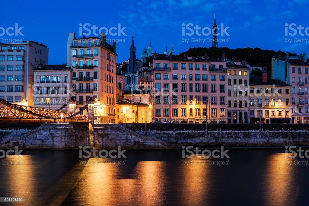 Architecture of Lyon along Saone River river stock photo