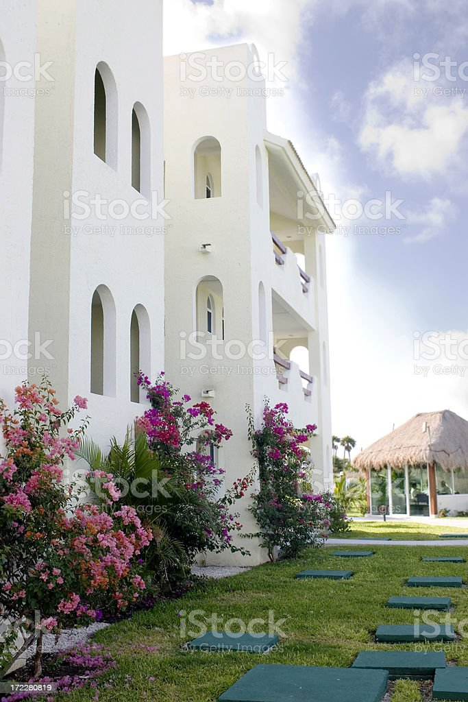 Architecture of Mexican Resort Hotel, Sunny, Nobody, Copy Space royalty-free stock photo