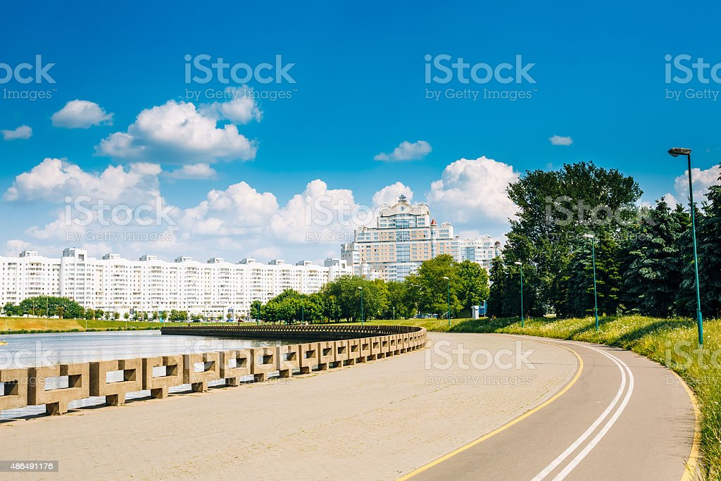 Architecture Of Minsk, From District Nemiga, Nyamiha in Belarus. stock photo