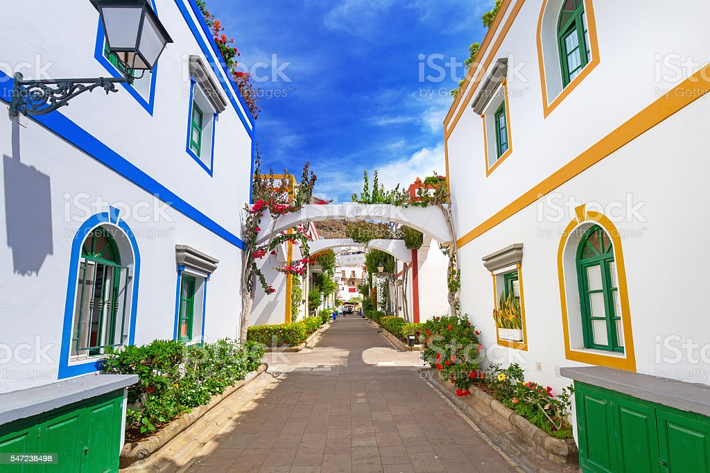 Architecture of Puerto de Mogan on Gran Canaria island stock photo