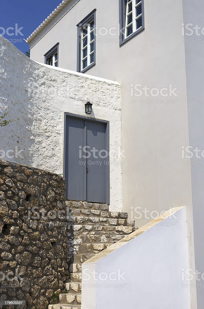 Architecture of Spestes island, Greece royalty-free stock photo