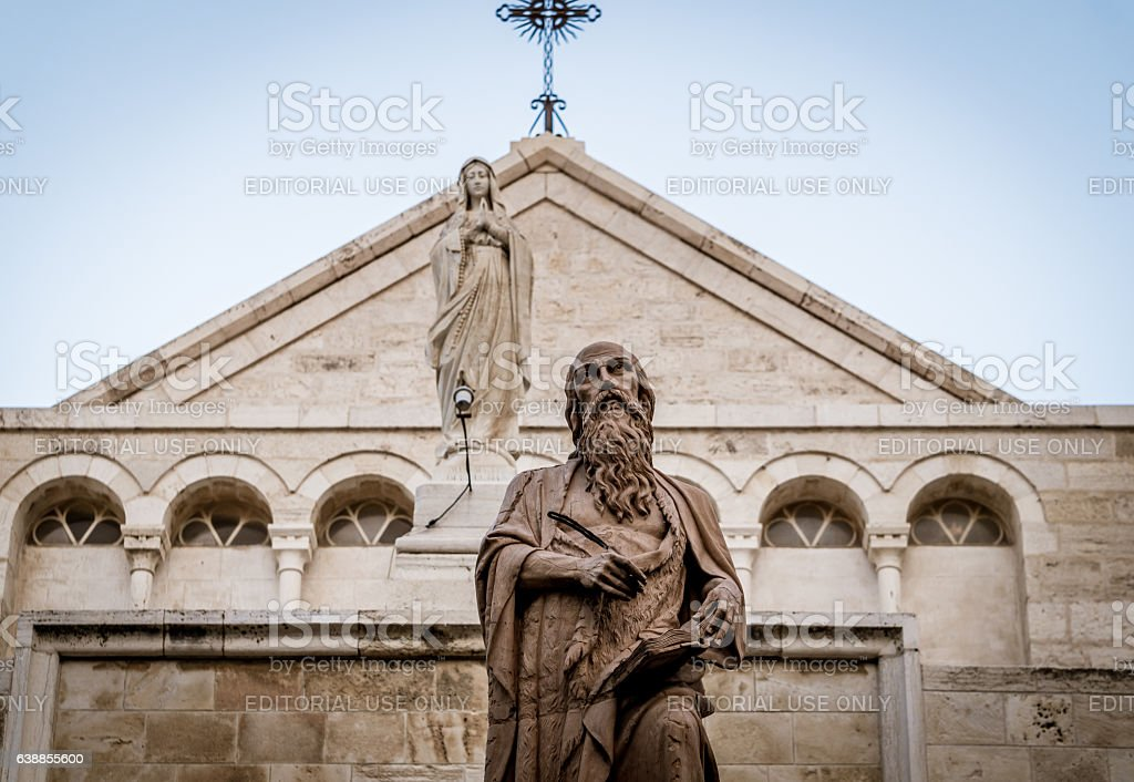 Architecture of the Church of the Nativity in Bethlehem, Israel stock photo