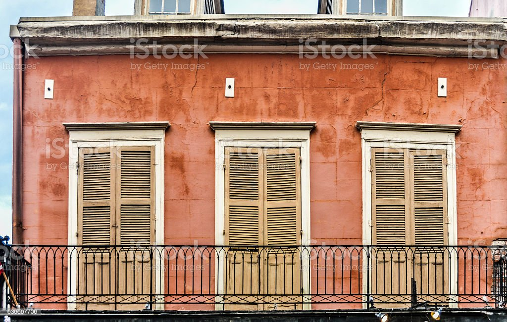 Architecture of the French Quarter in New Orleans, Louisiana stock photo
