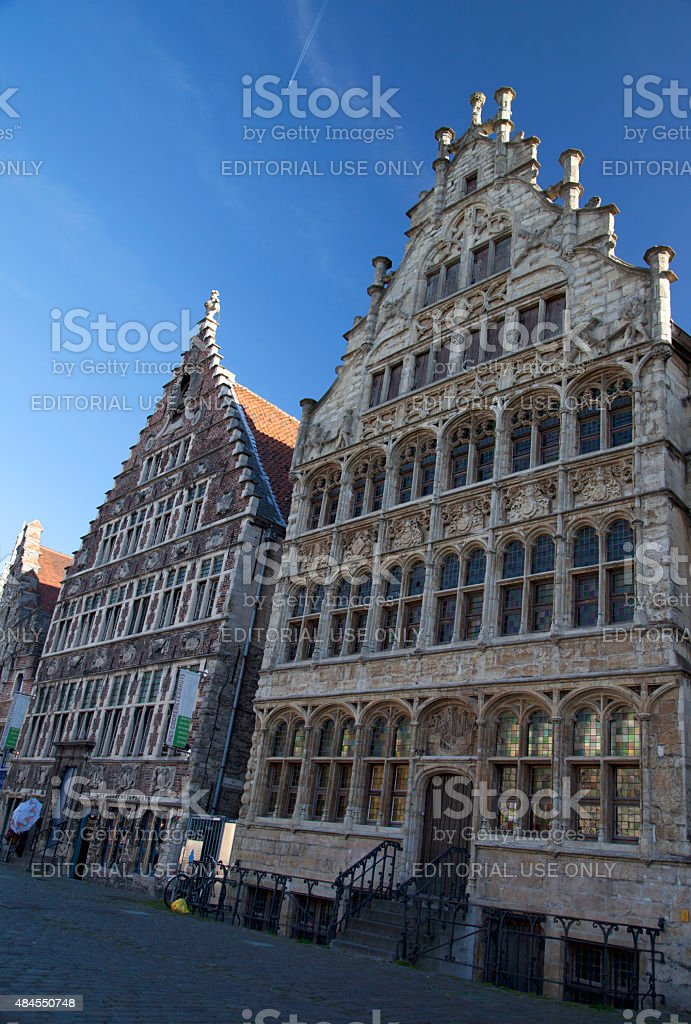 Architecture of the houses of Ghent stock photo