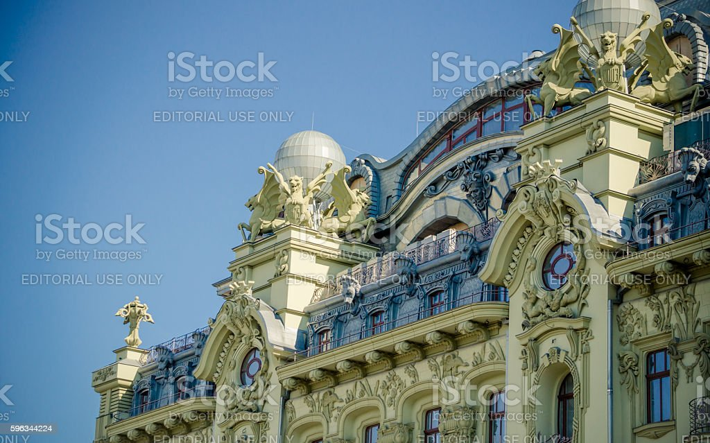 Architecture of the old buildings in Odessa stock photo