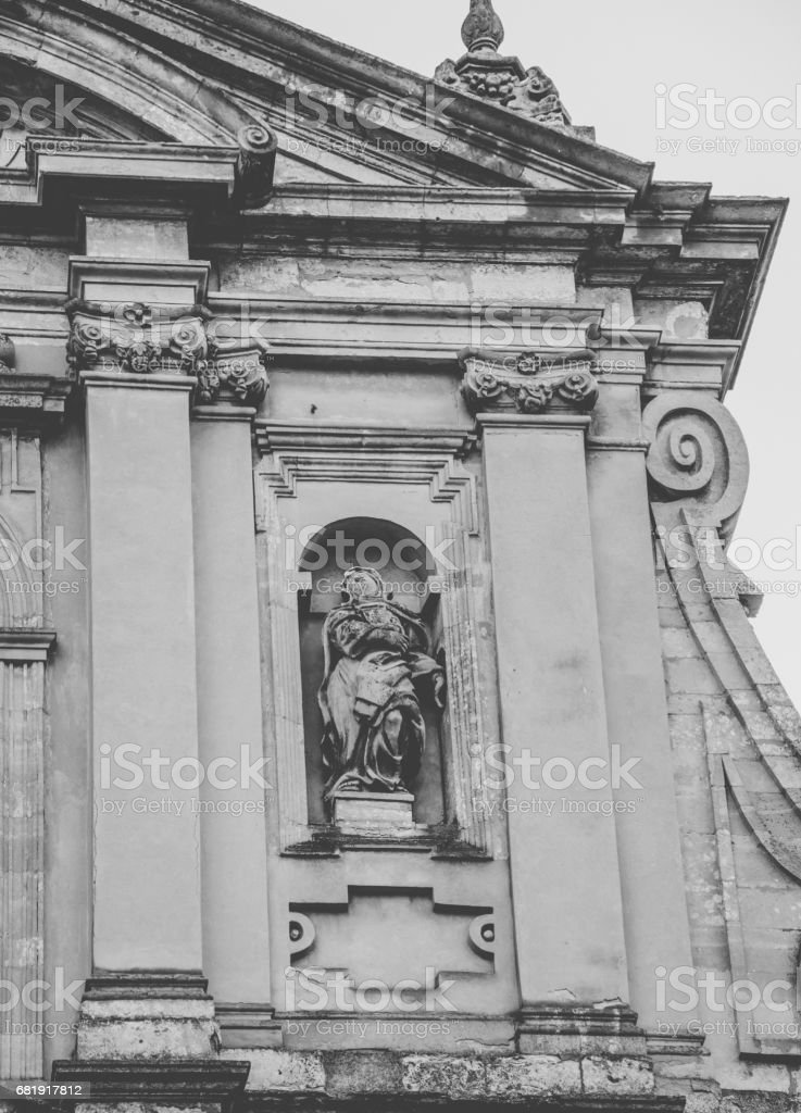 architecture of the old Jesuit Cathedral of Peter and Paul. Ukraine, city of Lviv stock photo