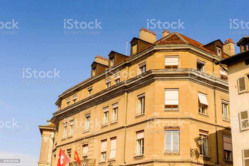 Architecture of the Old part of Geneva, Switzerland. stock photo