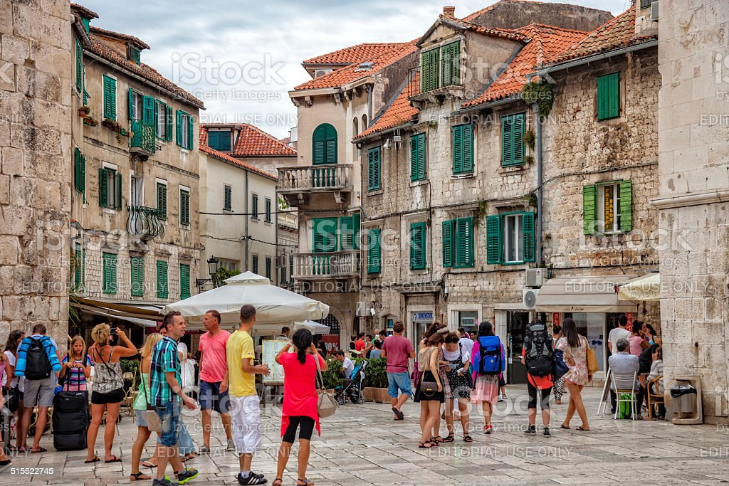 Architecture of the Old Town in Split, Croatia. stock photo