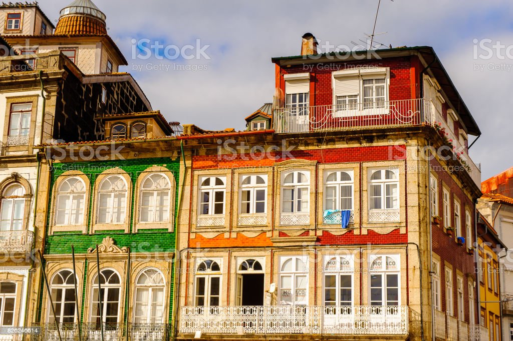 Architecture of the  Toural square of Historic Centre of Guimaraes, Portugal. UNESCO World Heritage stock photo