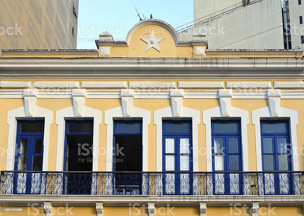 Architecture - old façade (São Paulo, Brazil) stock photo