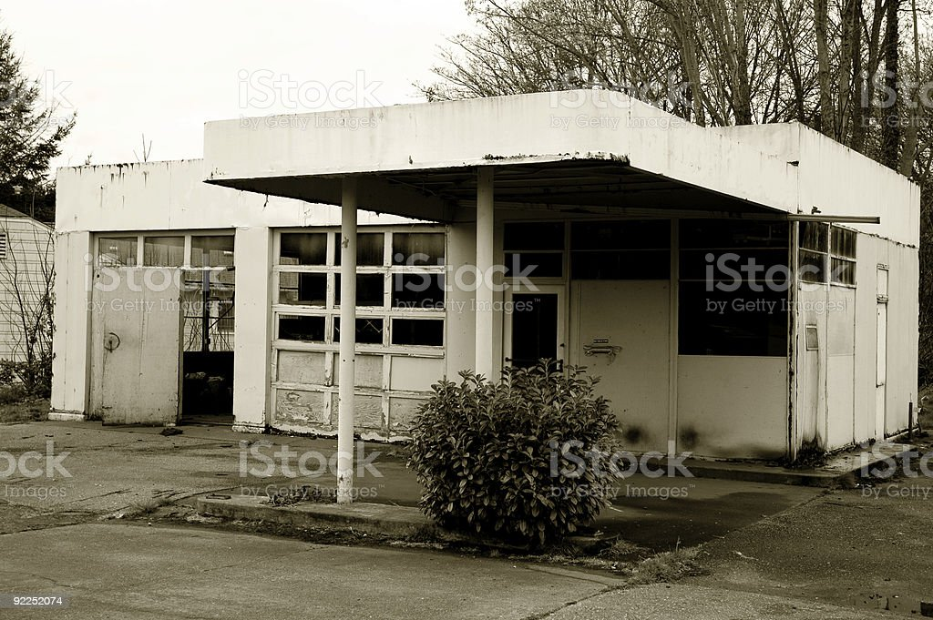 Architecture - Old Gas Station 3 royalty-free stock photo