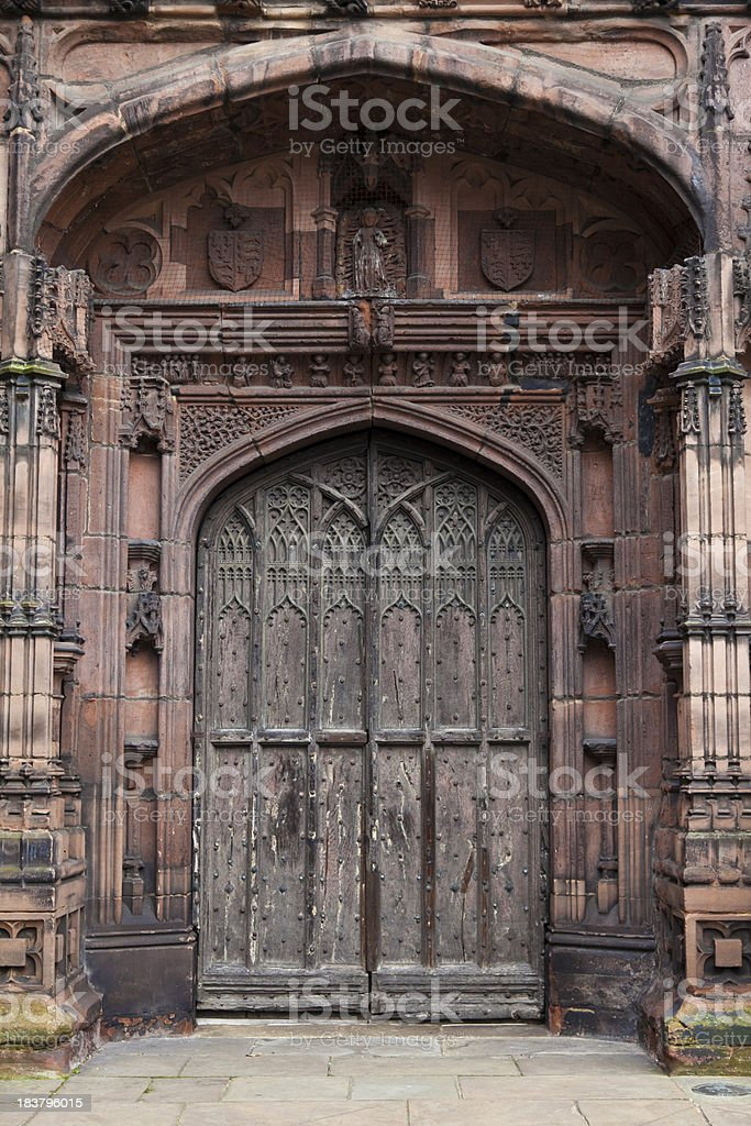 Architecture old wooden catherdral door royalty-free stock photo